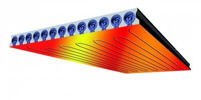 DX-Therm wykorzystuje całą powierzchnię sufitu do efektywnego ogrzania pomieszczenia. Eliminuje konieczność zastosowania dodatkowych instalacji grzewczych. Fot. Dennert