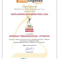 Złoto dla lidera – Budowlana Marka Roku 2016 dla Termo Organiki