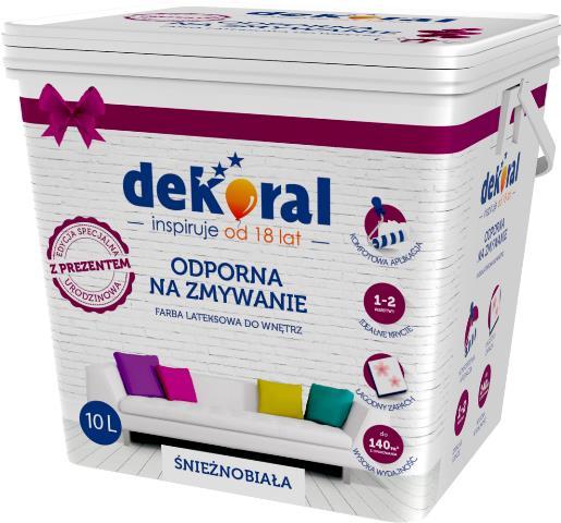 Urodzinowa farba akrylowo-lateksowa Dekoral do wnętrz w kolorze śnieżnobiałym - z niespodzianką. Fot Dekoral