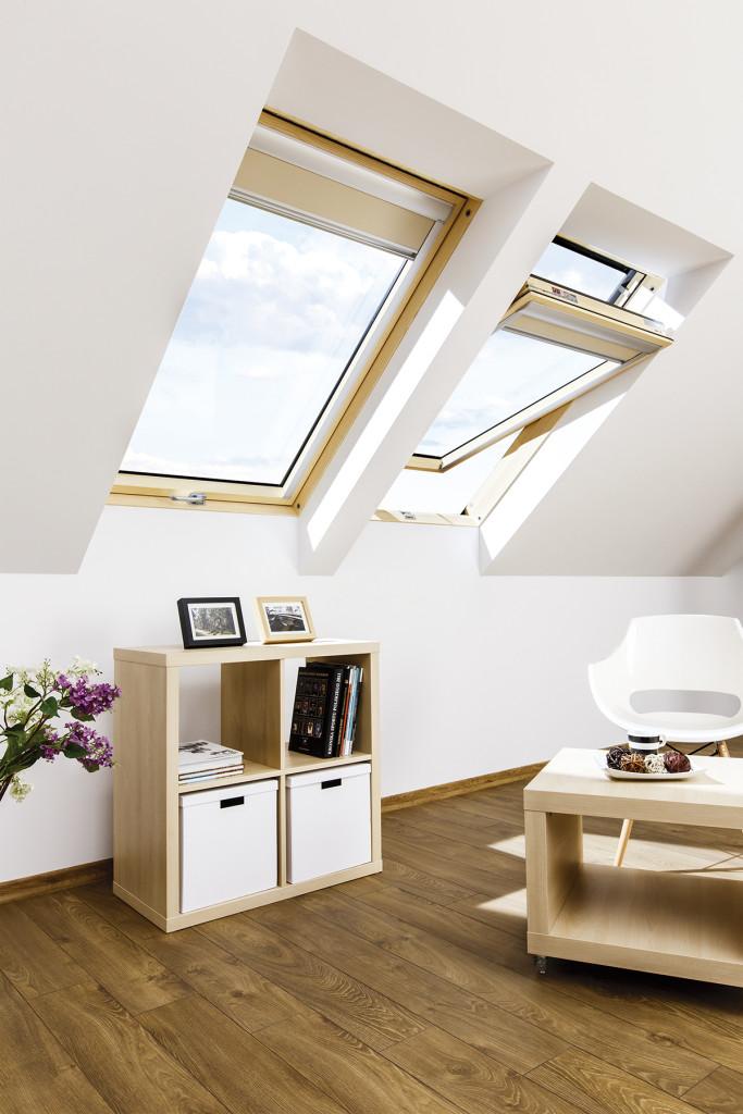 Poddasze z oknami dachowymi FTP-V. Fot. Fakro