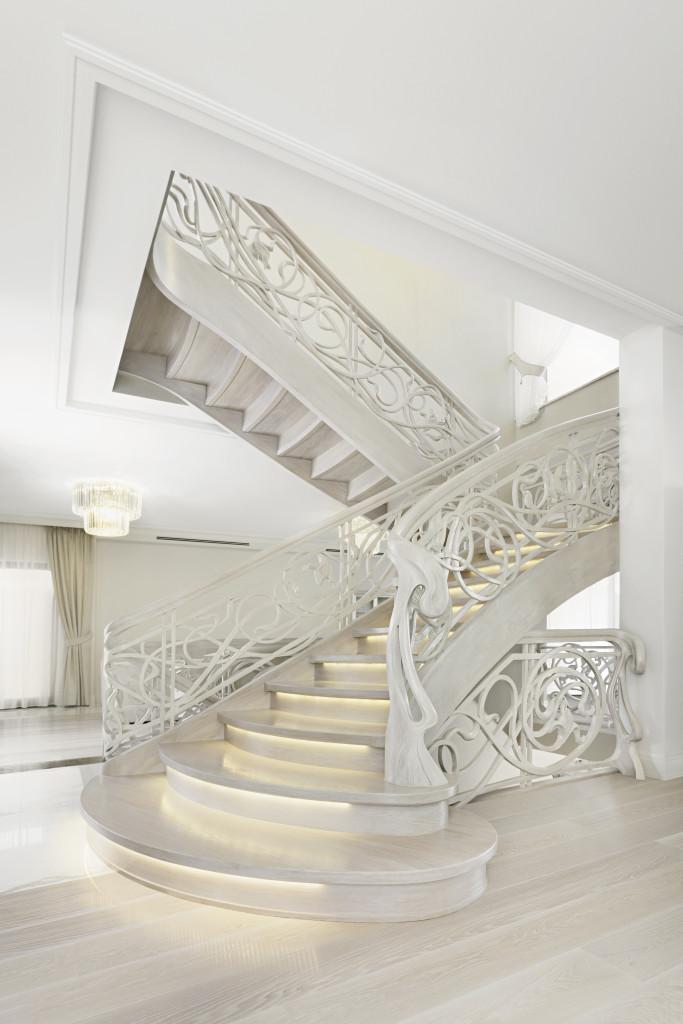 Drewniane schody dwubiegowe ze spocznikiem. Fot. Marchewka Schody - Podłogi - Wnętrza