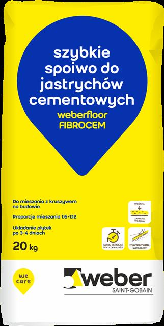 Opakowanie nowego szybkiego spoiwa do jastrychów cementowych weberfloor FIBROCEM. Fot. Weber