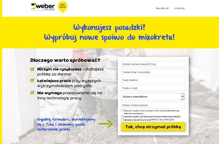 Dedykowana strona www.mixokret.weber, na której wykonawcy mogą zamówić darmowe próbki nowego szybkiego spoiwa weberfloor FIBROCEM. Fot. Weber